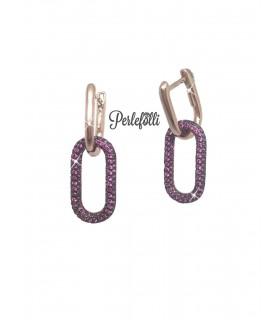 Orecchini Maglia Ovale con Zirconi Fucsia Argento 925 Rosé