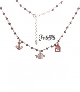 Collana Casa al Mare con Zirconi Argento 925 Rosé