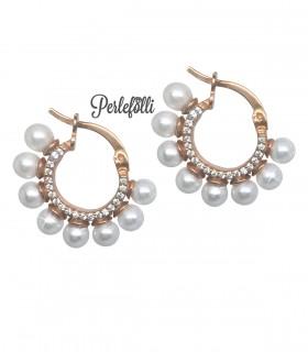 Orecchini Cerchio con Perle e Zirconi Bianchi Argento 925 Rosé