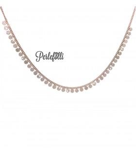 Collana con Medagliette di Zirconi Argento 925 Rosé