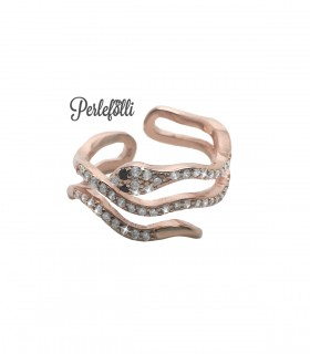 Anello Serpente con Zirconi Bianchi Argento 925 Rosé