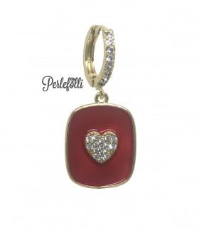 Cerchietto Medaglia Rossa con Cuore Zirconi