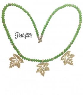 Collana con Foglie Oro Opaco Rondelle Verdi