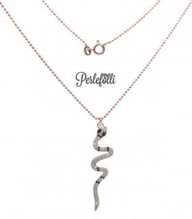 Collana Serpente con Zirconi Bianchi e Neri Argento 925 Rosé