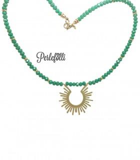 Collana Sun Oro Opaco e Rondelle Verdi