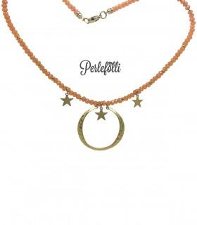 Collana Luna Stelle Oro Opaco con Rondelle Pesca