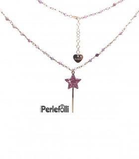 Collana Bacchetta Magica Grande Rosa Glitter Grande Argento 925 Rosé