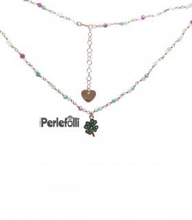 Collana Quadrifoglio con Zirconi Argento 925 Rosé