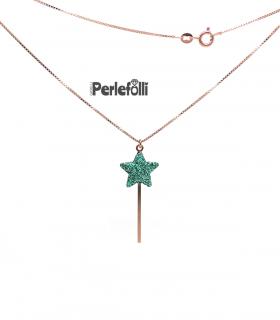 Collana Bacchetta Magica Grande Verde Glitter Argento 925 Rosé